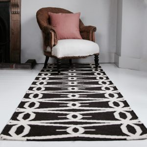 Hand loomed wool & jute runner