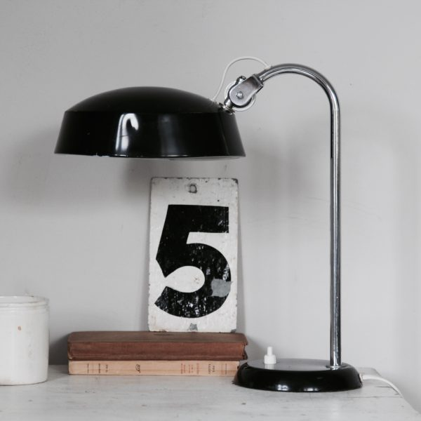 1960s table or desk lamp, black enamel shade