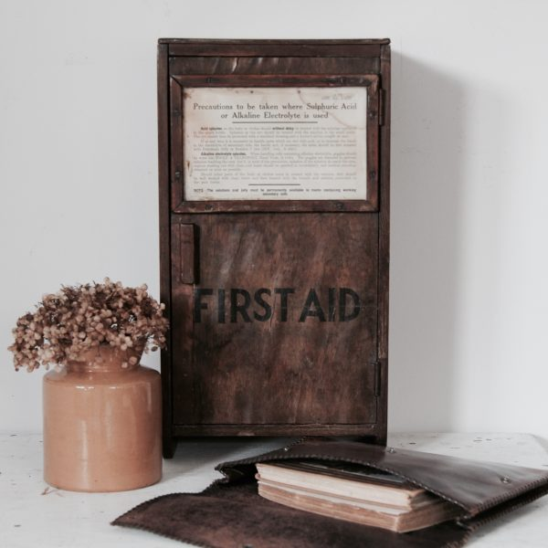 Characterful 1930s-40s wall mounted first aid cupboard