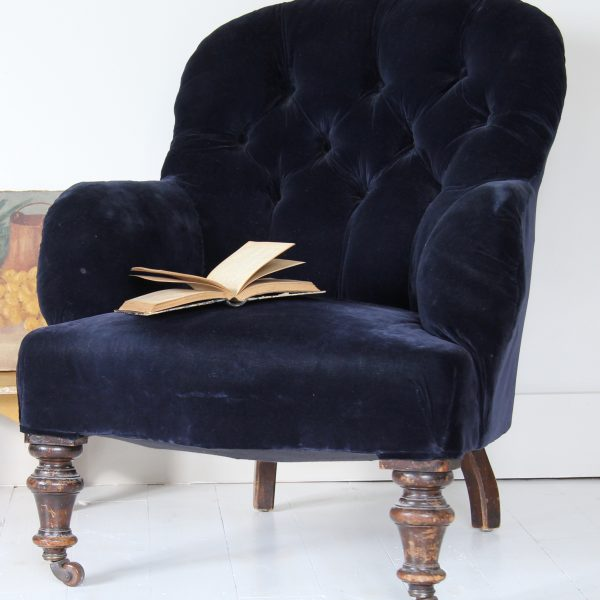 19th century buttoned back French armchair