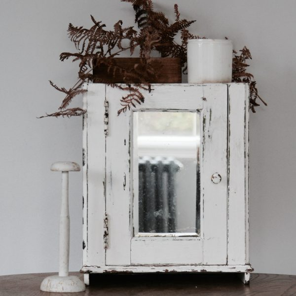 1940s French painted mirrored cabinet