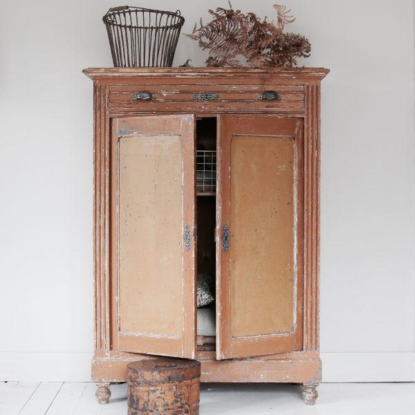 Late 19th century continental cupboard, original paint