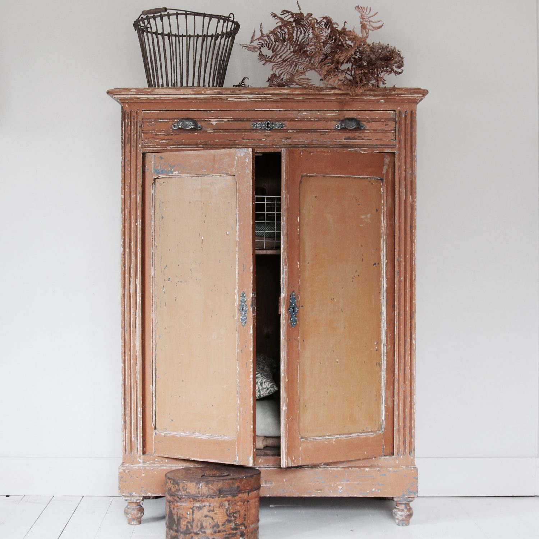 Late 19th century continental cupboard, original paint