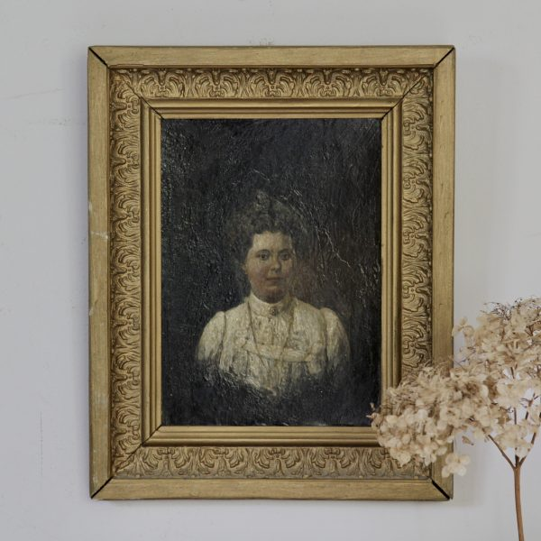 Beautiful little 19th century French portrait of a lady, oil on canvas