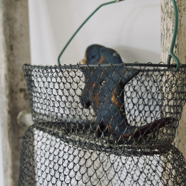 Pretty vintage French collapsible fish basket