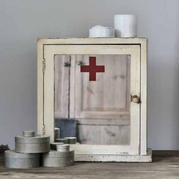Large vintage mirrored first aid cabinet