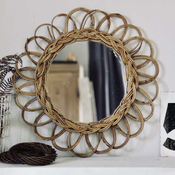 Mid-century French rattan round wall mirror