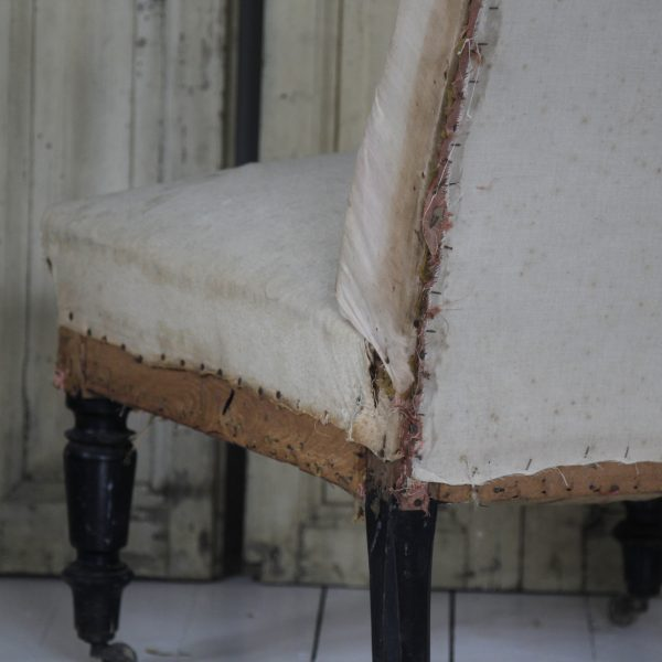 19th century French Napoleon III chauffeuse slipper chair
