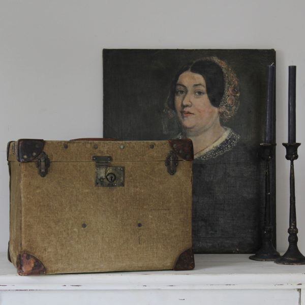 Beautiful vintage canvas travelling trunk