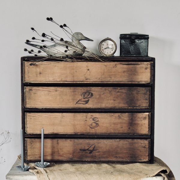 Large rustic bank of drawers