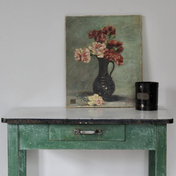 1920s enamel top table, original paint