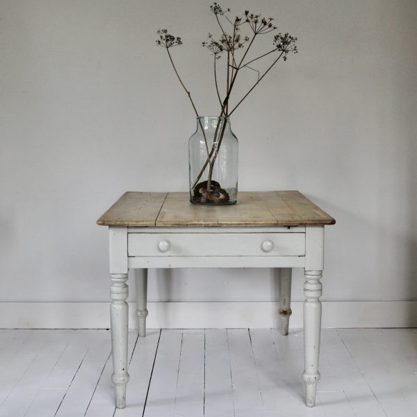 Vintage pine farmhouse table with drawer