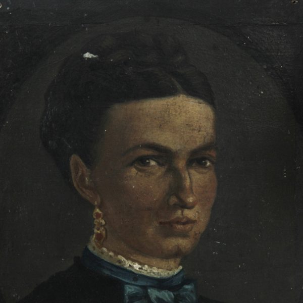 Beautiful French portrait of a lady, oil on board, 1874