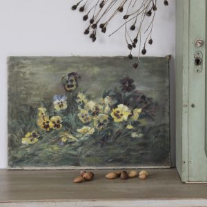 Charming turn of the century floral painting, oil on canvas