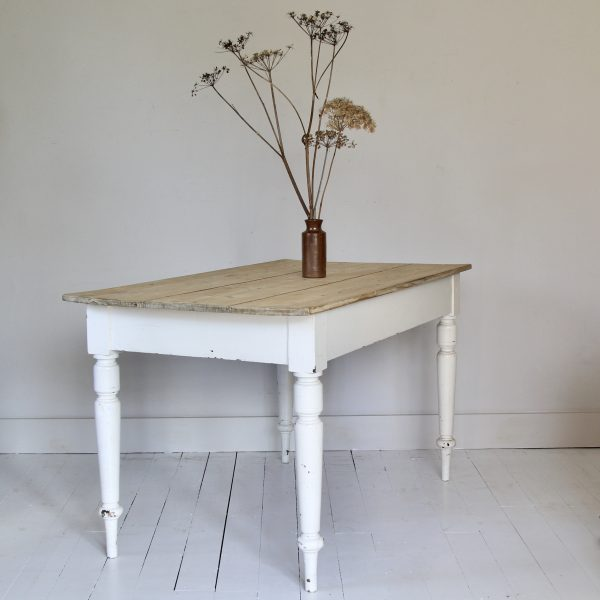 Large 19th century painted pine dining table