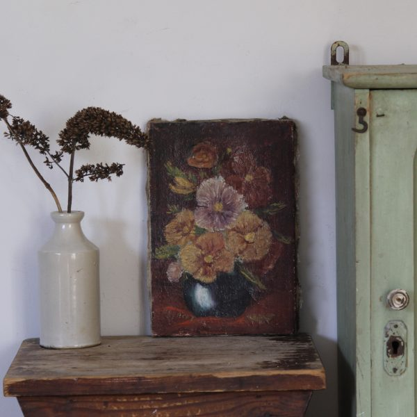 Pretty antique floral painting, oil on canvas
