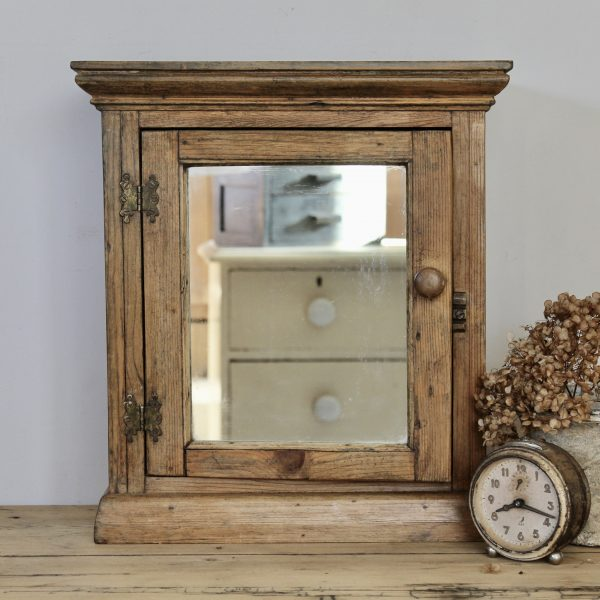1930s small vintage oak mirrored cabinet