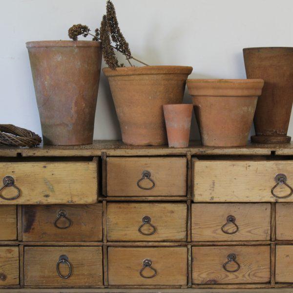 Large vintage rustic pine bank of drawers