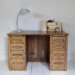 Beautiful 1940s double pedestal desk with drawers