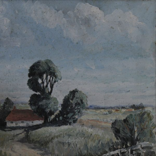 Small 1950s signed landscape painting, oil on canvas