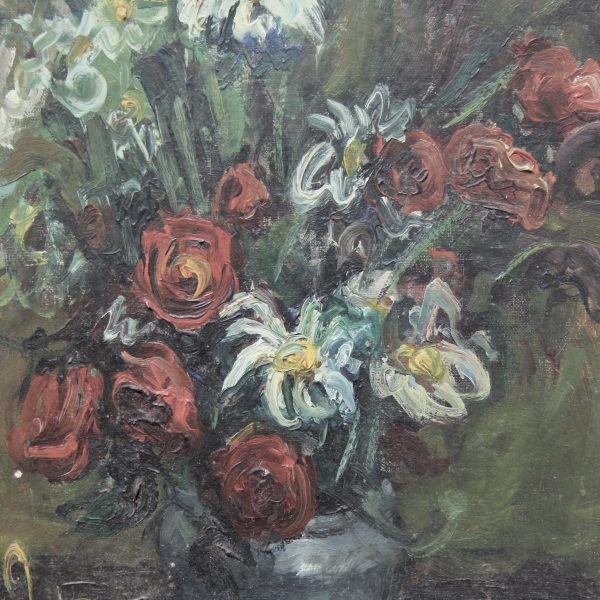19th century floral oil on canvas