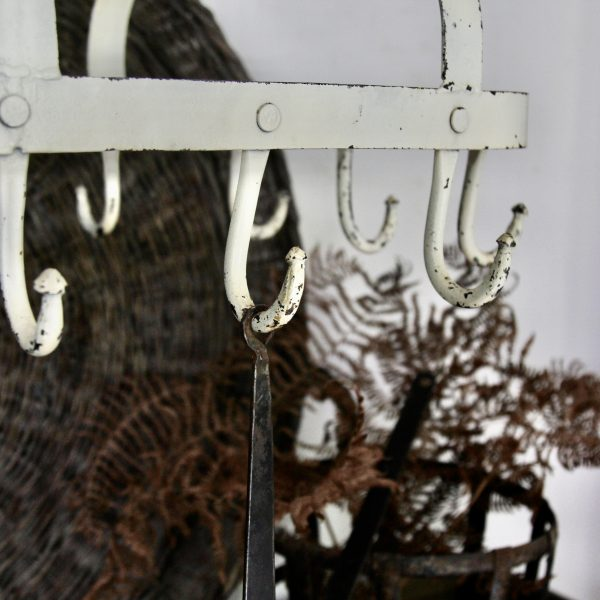 Vintage French cast iron hanging pots rack