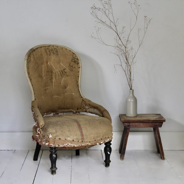 Unusual 19th century French slipper chair