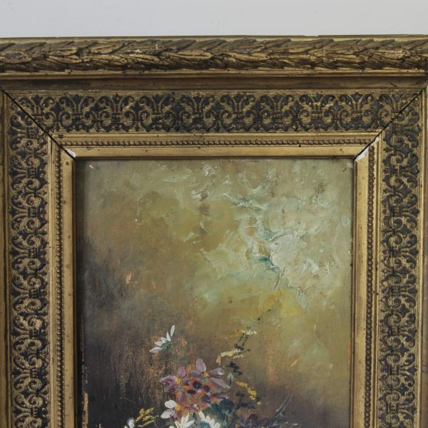 Charming floral painting, oil on board
