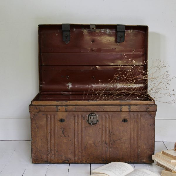 Early 20th century banded metal travel trunk
