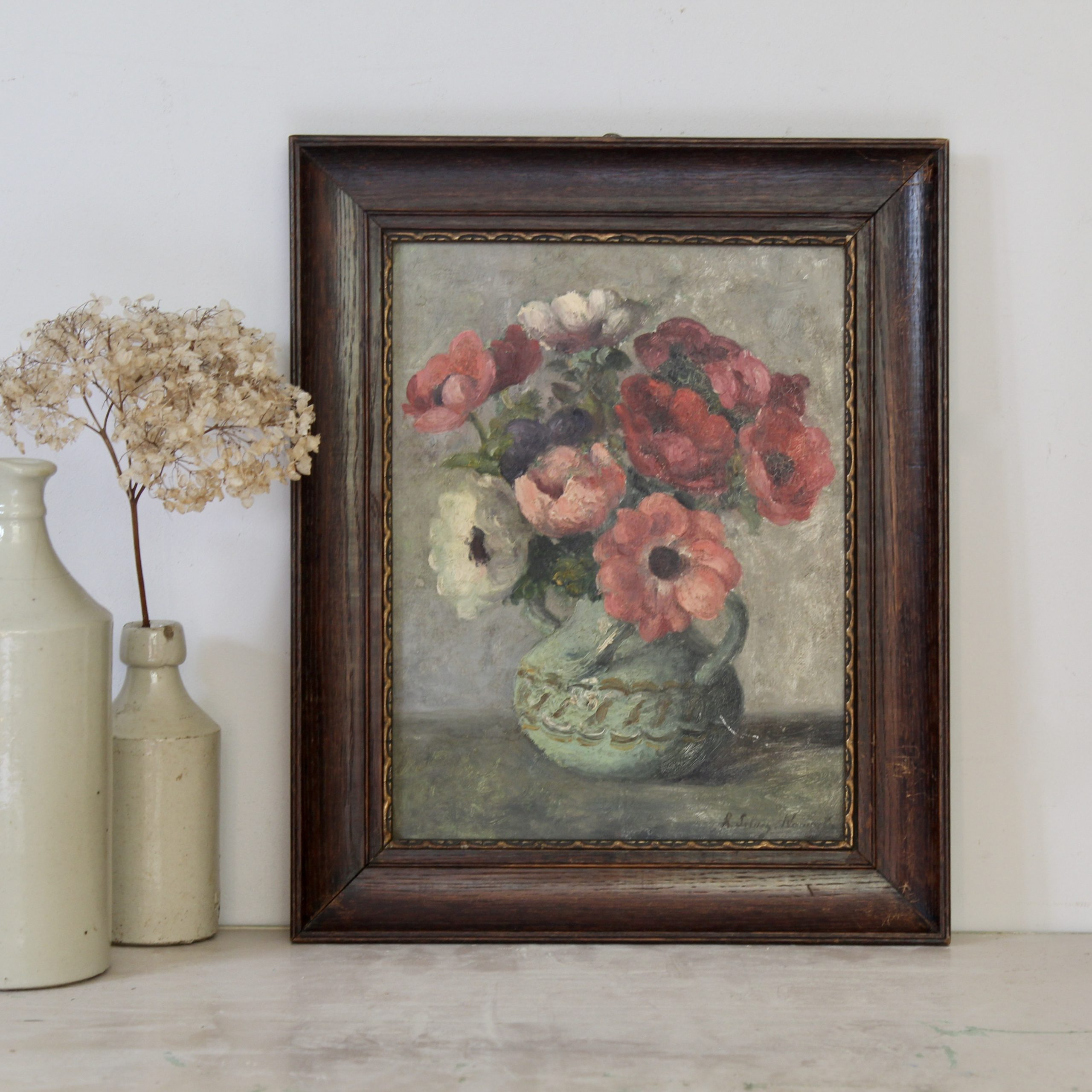 Pretty antique French floral painting, oil on board