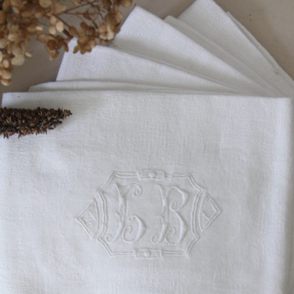 Set of 4 antique French embroidered monogrammed napkins