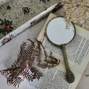 French petit point hand-held dressing table mirror