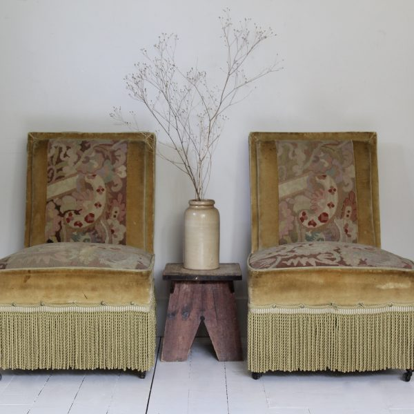 Stunning antique pair of French chauffeuse slipper chairs