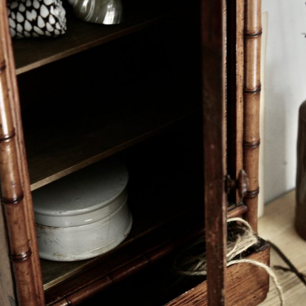 Small antique French faux bamboo cabinet
